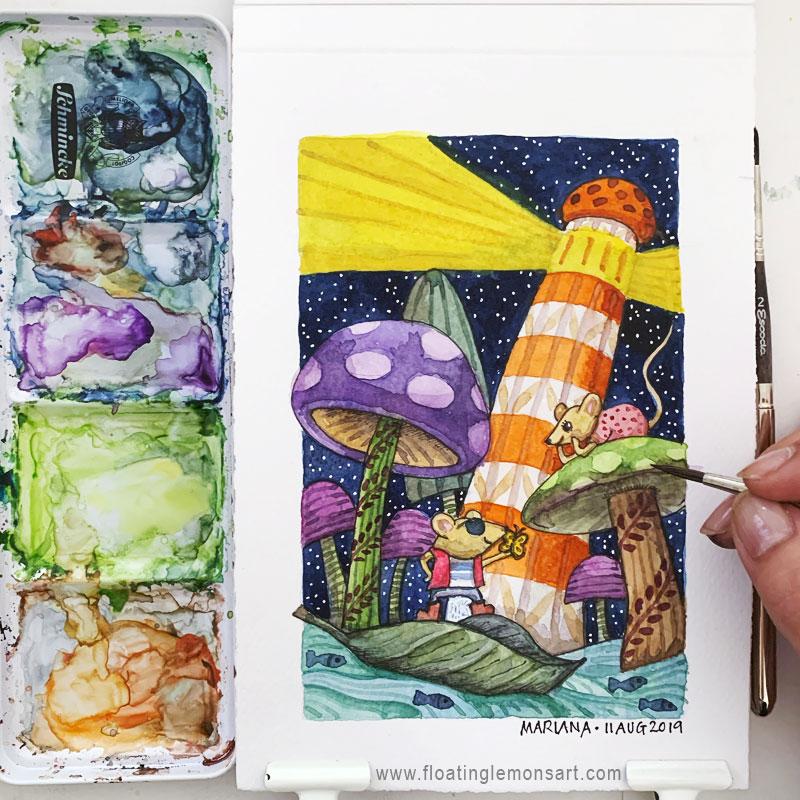 Mice, Mushrooms, Lighthouse watercolour illustration by Mariana:  Floating Lemons Art