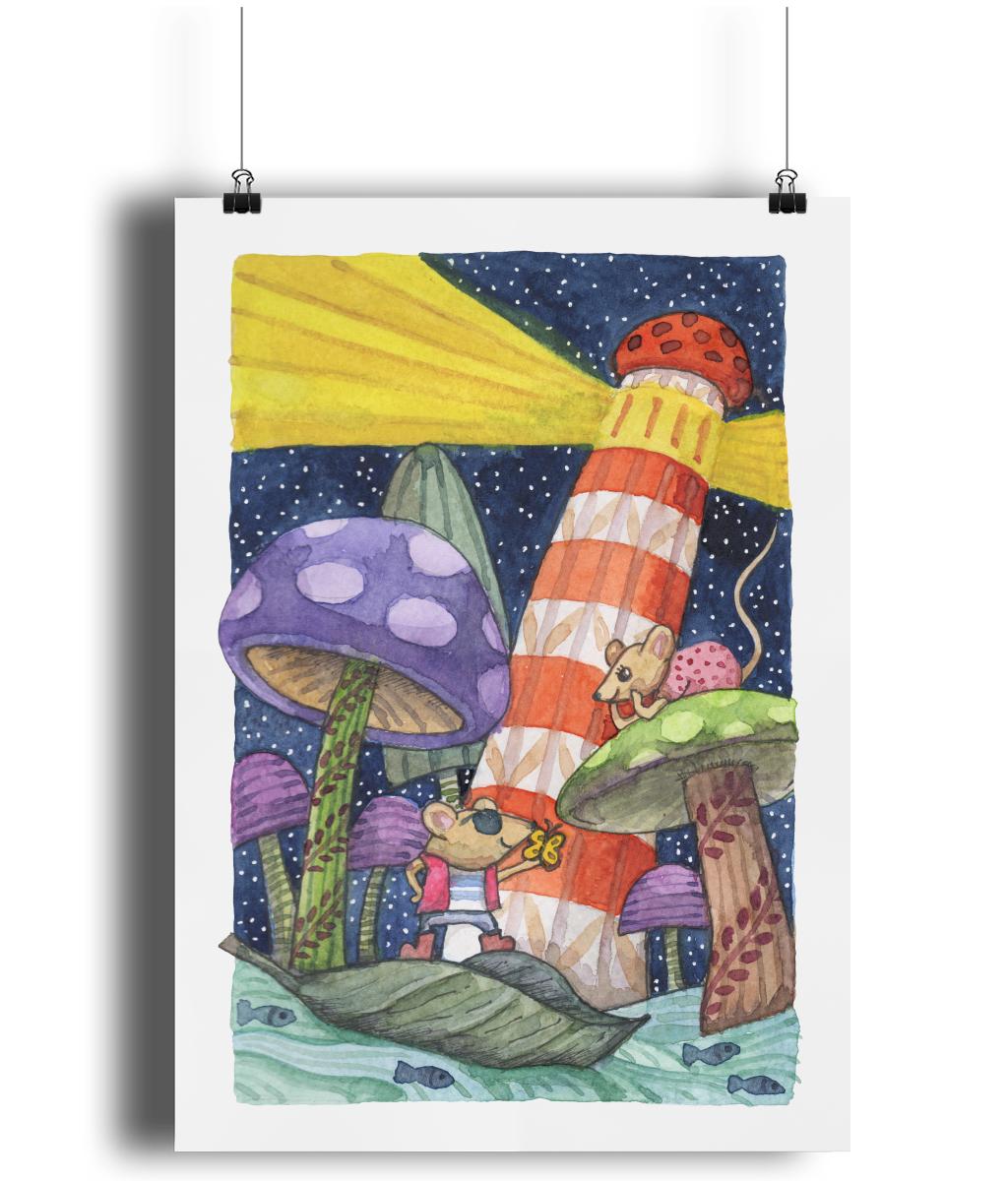 Mice Mushrooms Lighthouse eco-friendly A3 Art Print