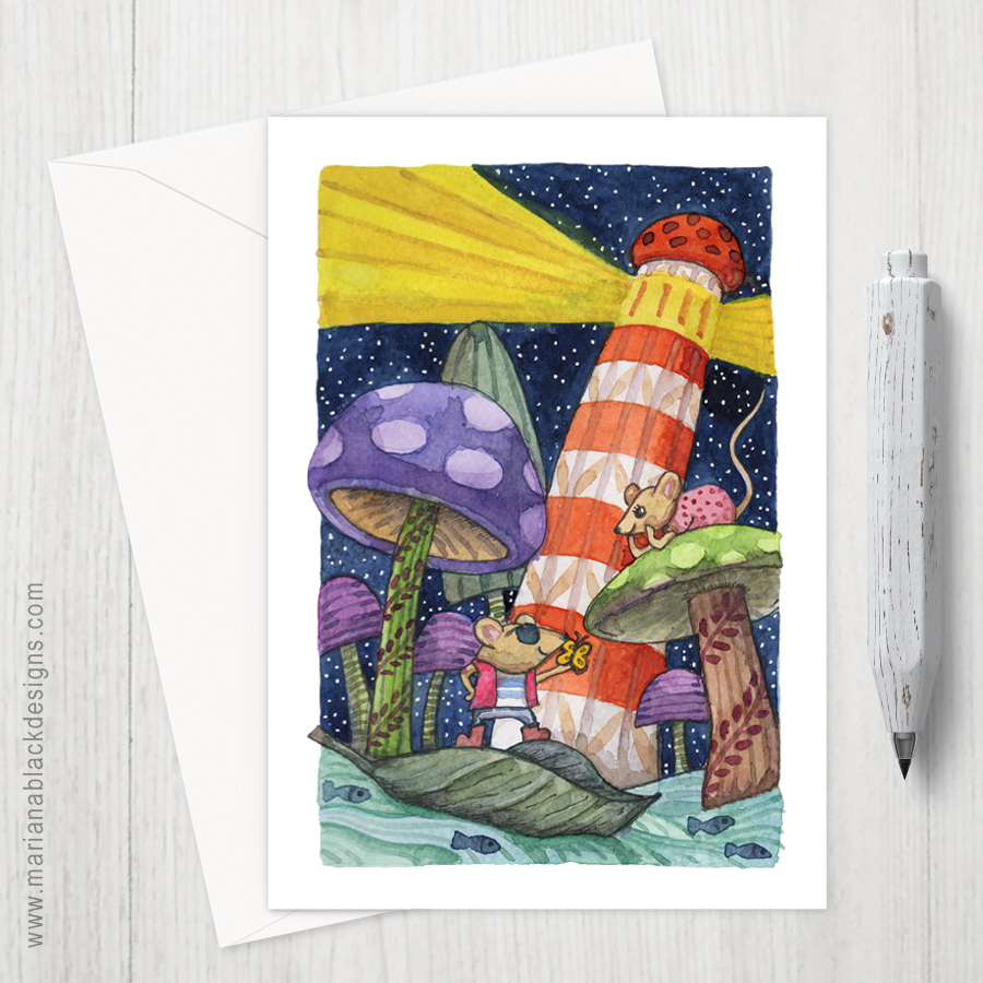 Mice Mushrooms Lighthouse eco-friendly Greeting Card by Mariana Black