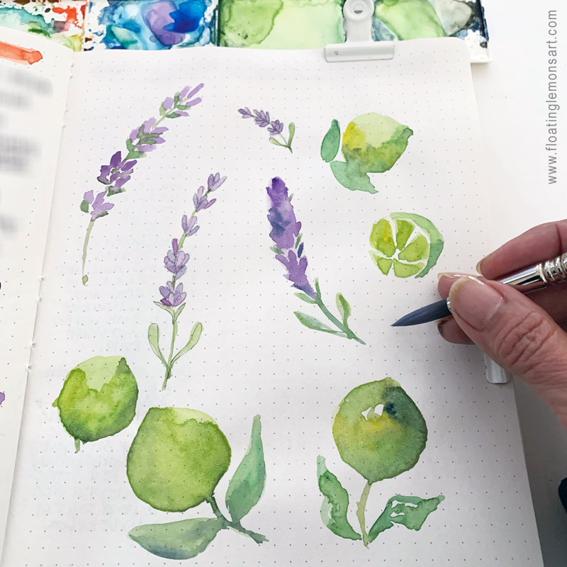 Herbs and Citrus watercolour sketches by Mariana:  Floating Lemons Art