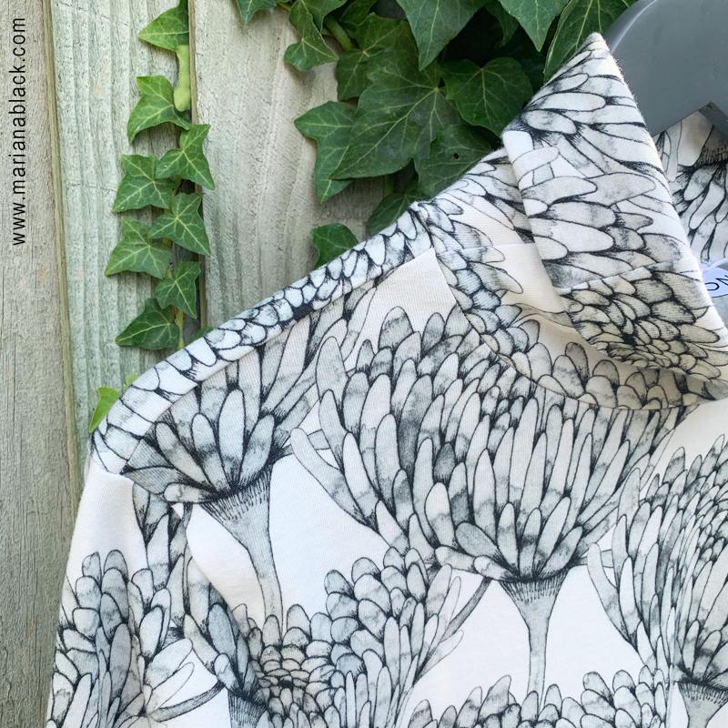 Chrysanthemum Crowd Organic Cotton Turtle Neck  by  Mariana Black Designs at DocCotton