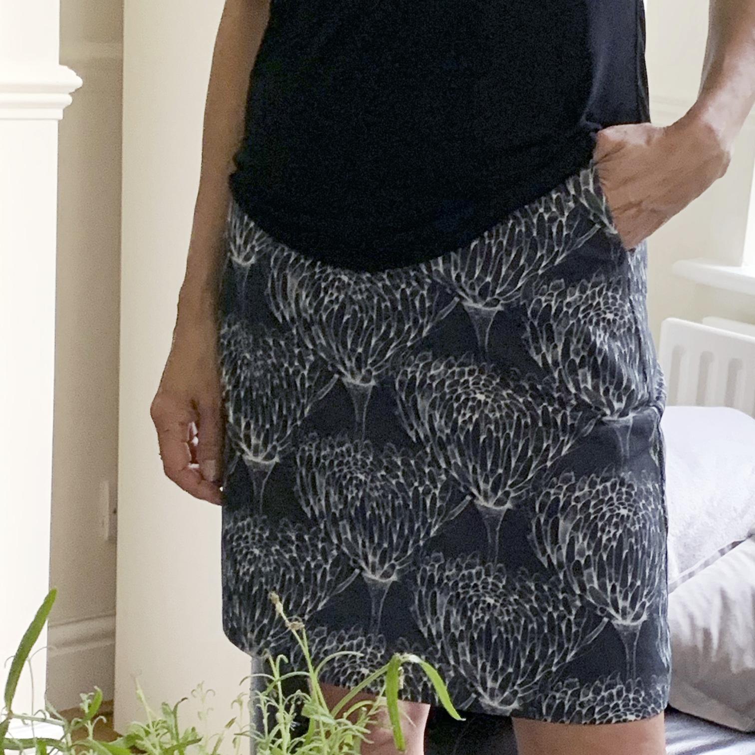 Chrysanthemum Crowd Black Organic Cotton Skirt  by  Mariana Black Designs at DocCotton