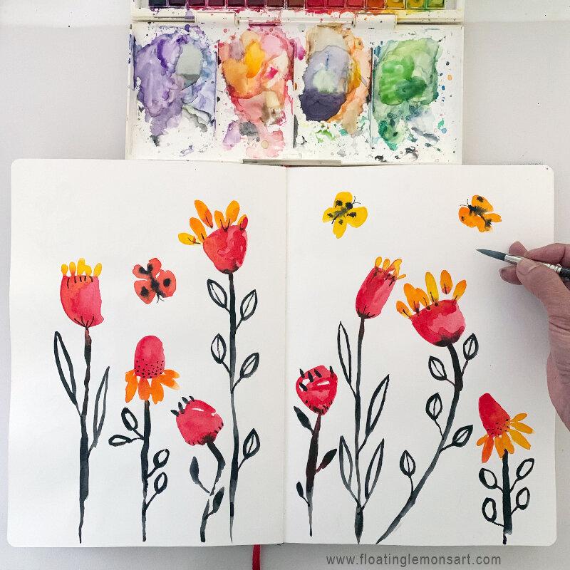 Watercolour: Joyful Bold Botanicals by MarianaBlack:  floatinglemonsart.com