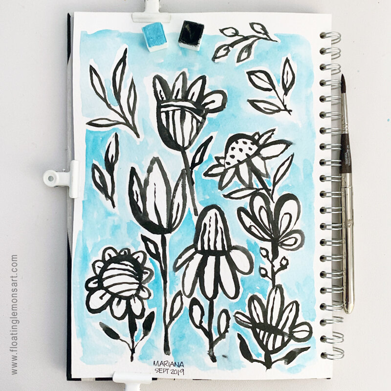Simple Black Flower Doodles by MarianaBlack:  floatinglemonsart.com
