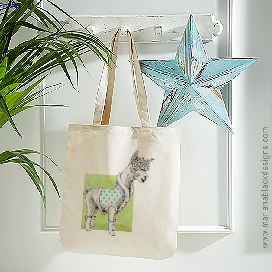 Alpaca Organic Spring Tote by Mariana Black Designs