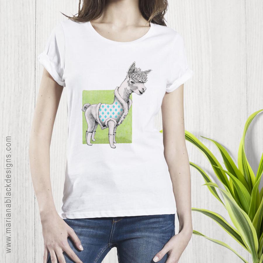 Alpaca Organic Women's Rolled Sleeve T-Shirt by Mariana Black Designs