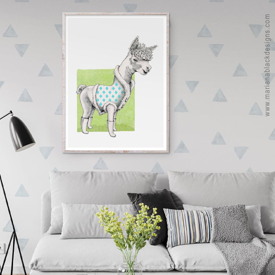 Alpaca Eco-Friendly Art Poster by Mariana Black Designs
