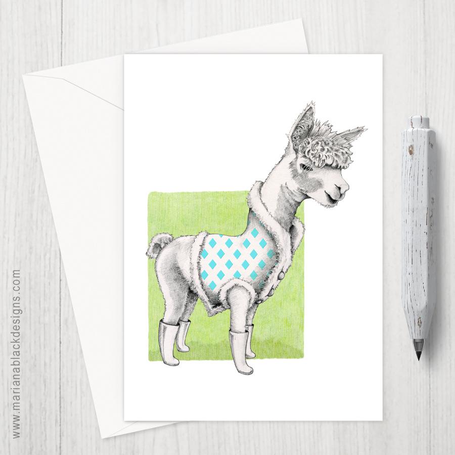Alpaca on Green eco-friendly Greeting Card by Mariana Black Designs