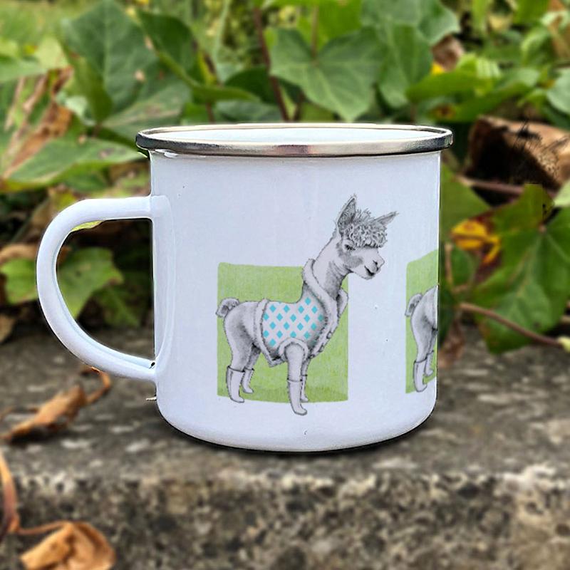 Alpaca on Green Enamel Mug by Mariana Black Designs