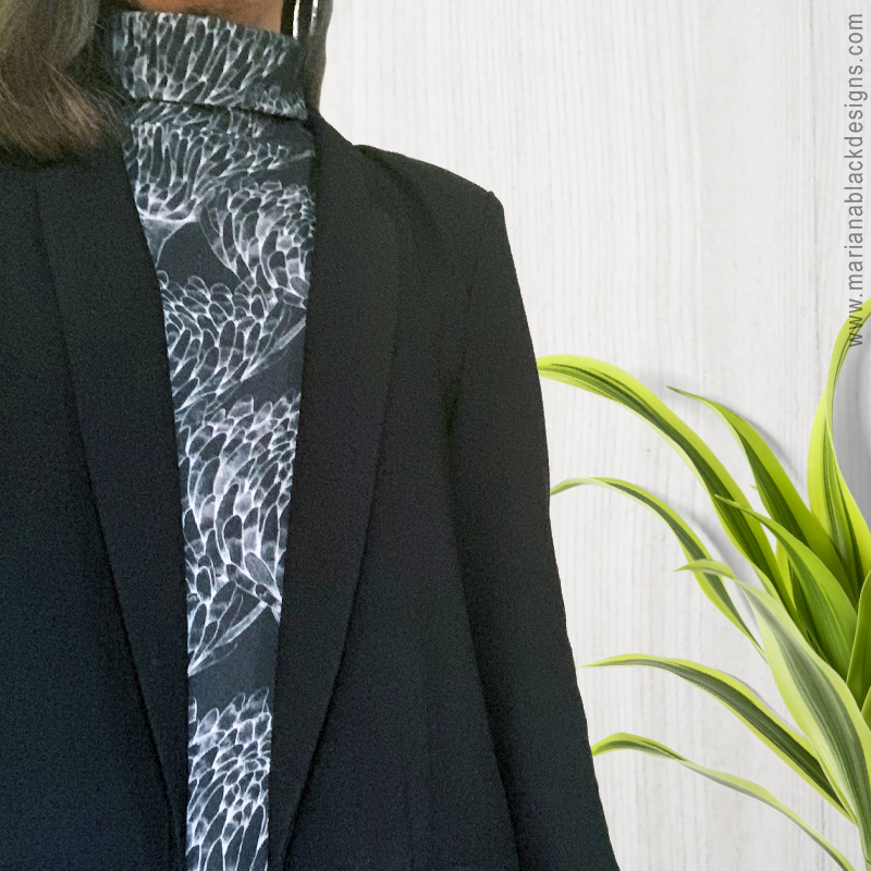 Chrysanthemum Crowd Black Organic Turtleneck by Mariana Black Designs