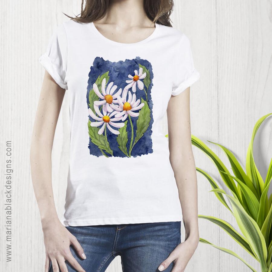 Darling Daisies Organic Rolled Sleeve T-shirt by Mariana Black Designs