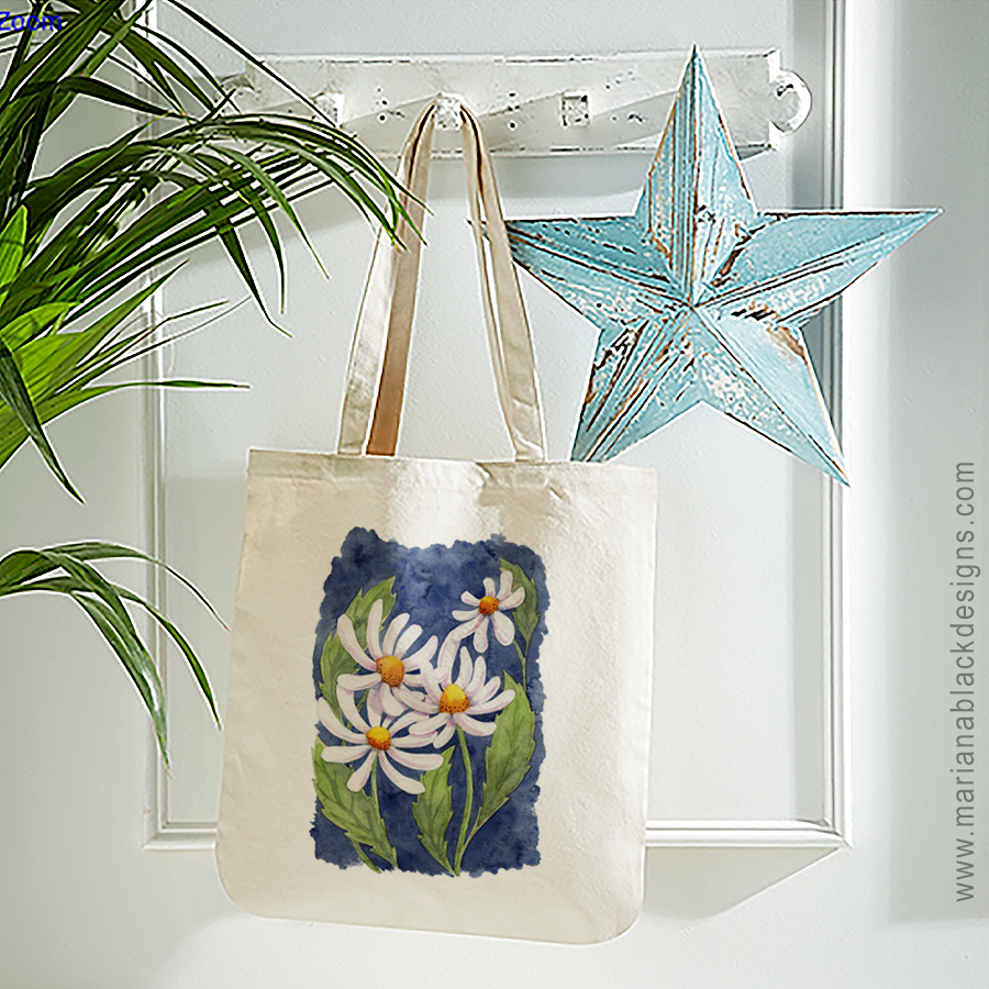 Darling Daisies Organic Spring Tote by Mariana Black Designs