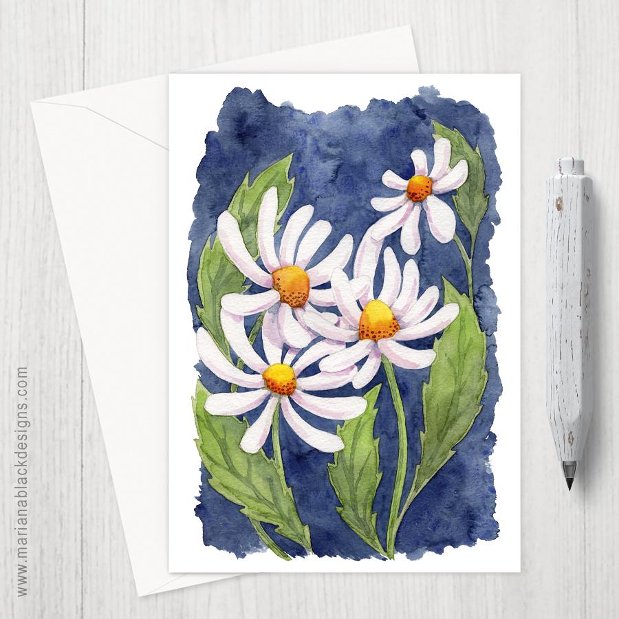 Darling Daisies Eco-Friendly Greeting Card by Marina Black Designs