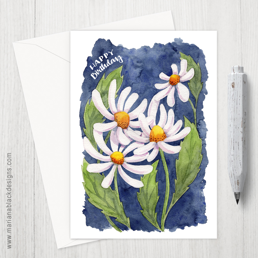 Darling Daisies Birthday Eco-Friendly Greeting Card by Marina Black Designs