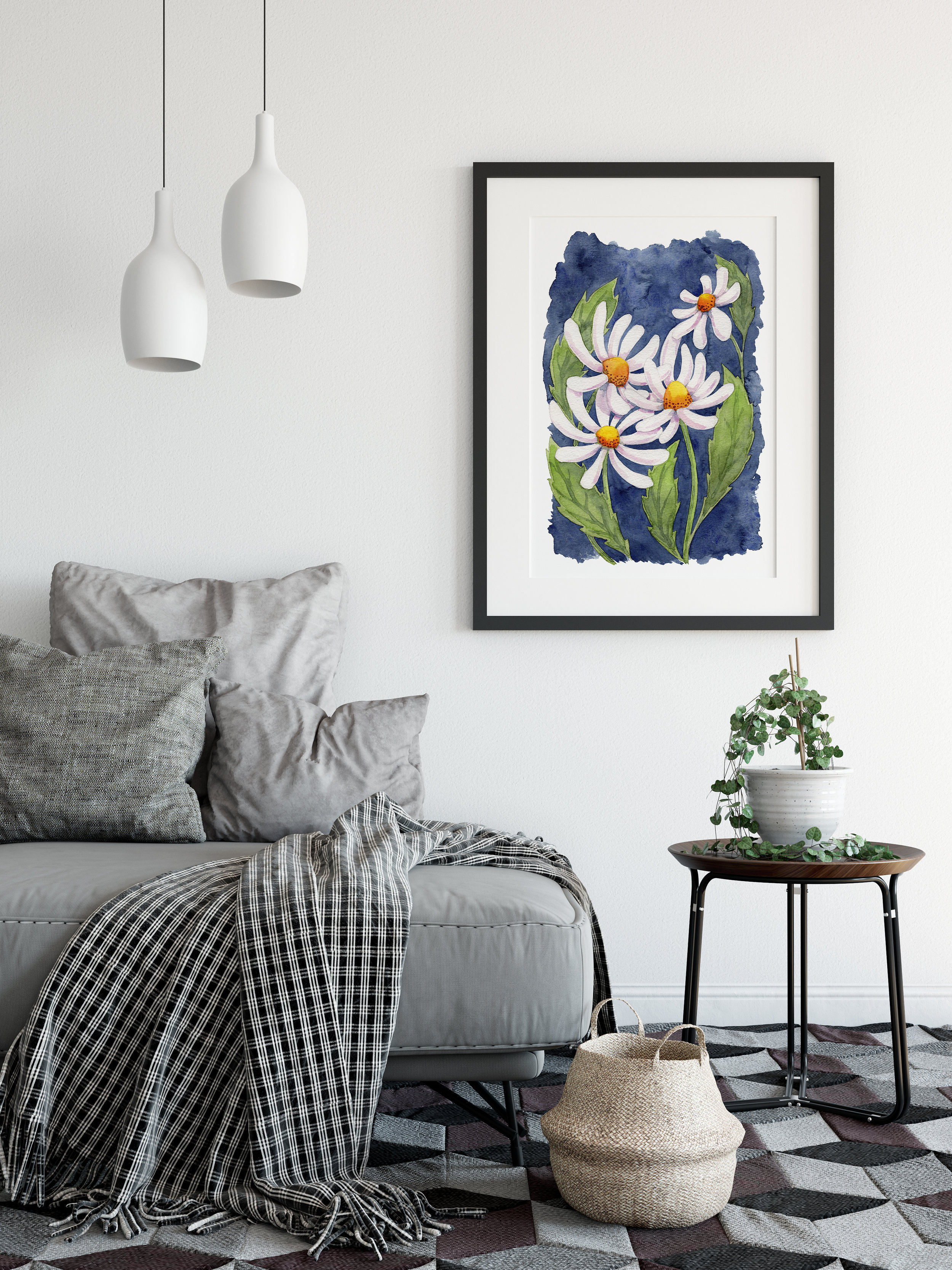 Darling Daisies Eco-Friendly Art Poster by Mariana Black Designs