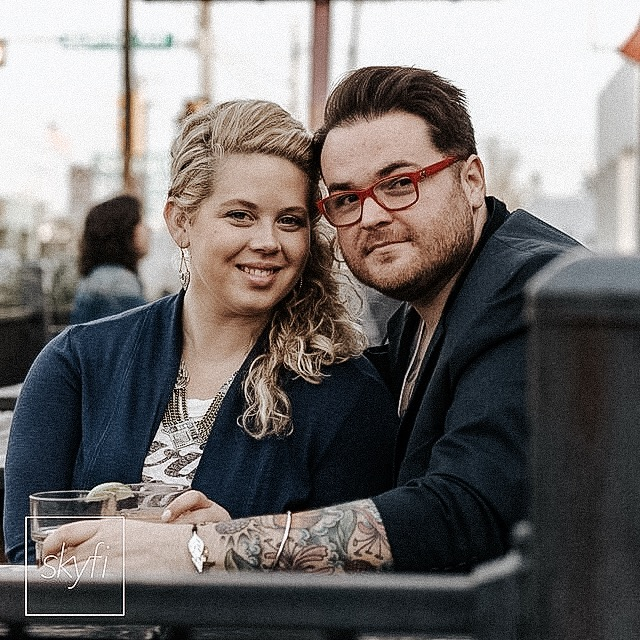 Engagement photo of where we met: Barcadia in Dallas, TX (we drank so much we included our beverages of choice in the photos - gin & juice and whisky poured neat)