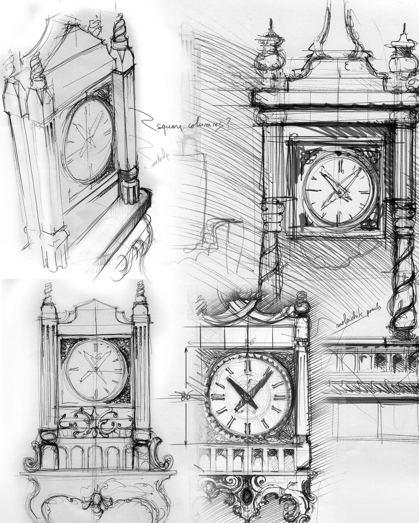 SKETCHES OF THE PALATIAN SCALE CLOCKS