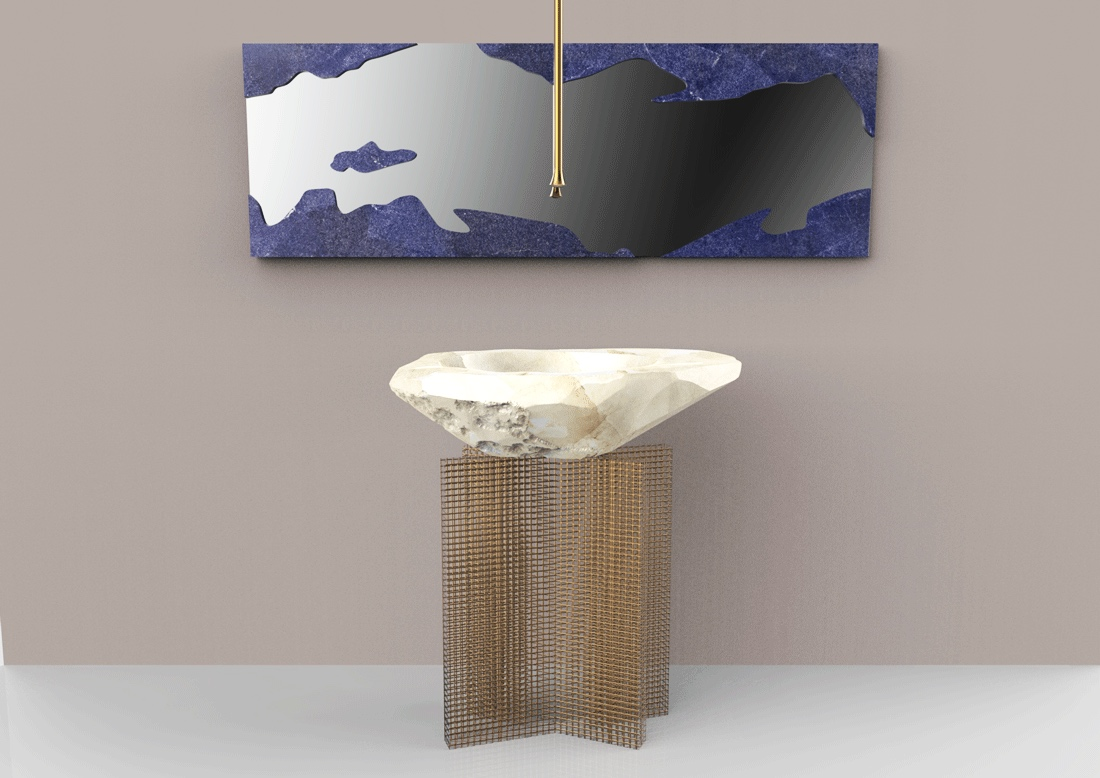 MIRRORED SKYLINE, rock crystal and lapis- baldi home jewels, salone del mobile 2019, milano
