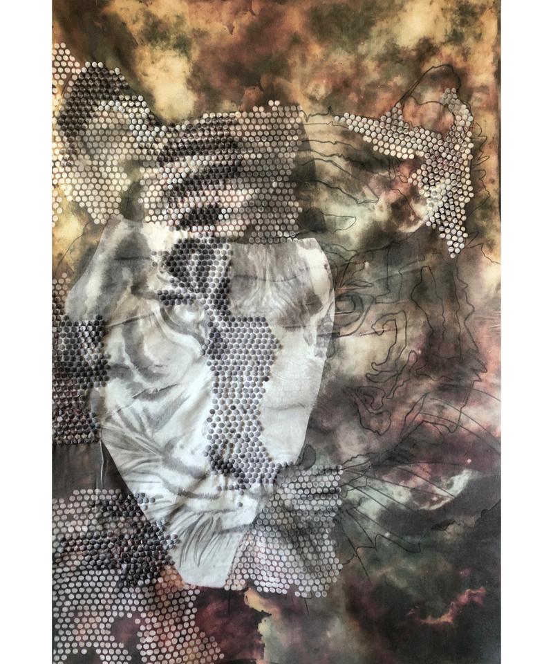 TIGRE BIANCA (BIAKKO), stampa su tessuto - barj buzzoni, 2019