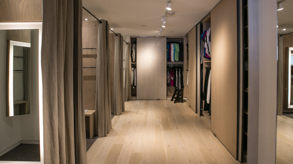 Fitting rooms in Eileen Fisher's remodel retail store