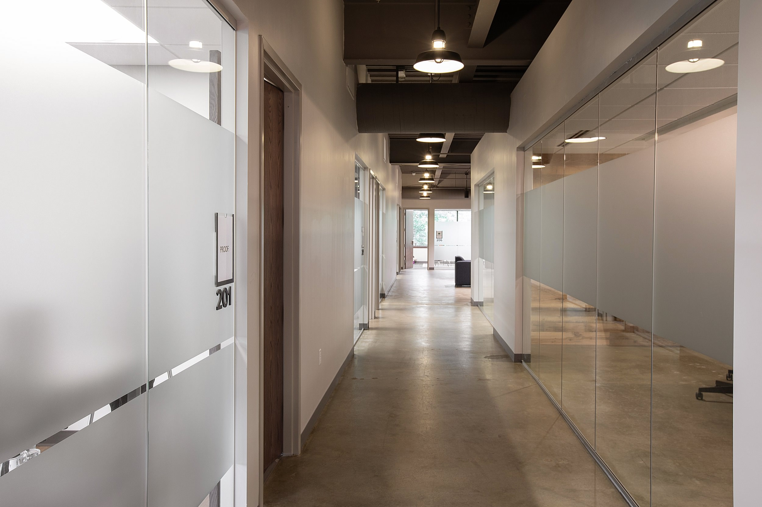 Office spaces and hallway at Edison Spaces