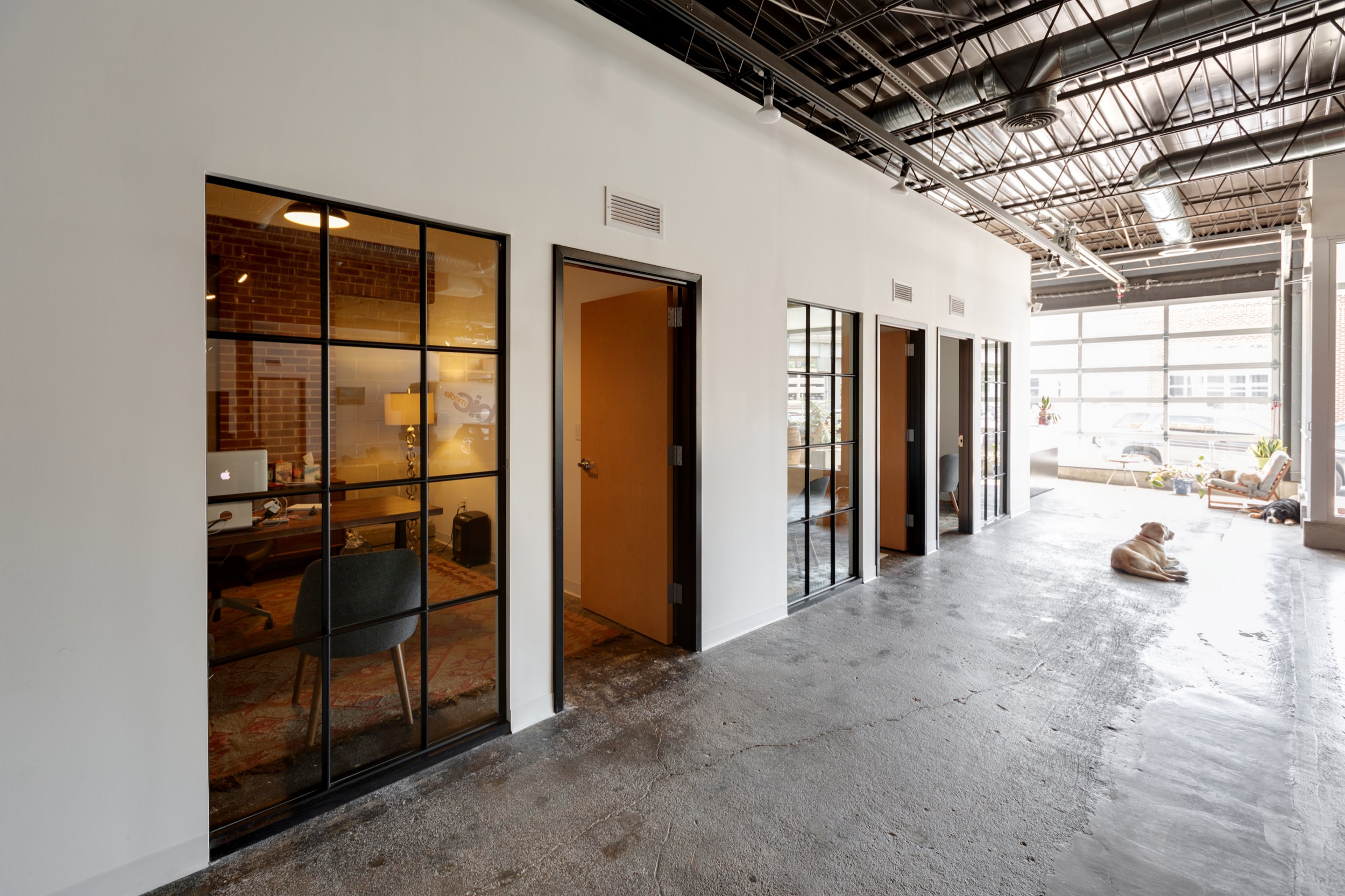 Glass-walled offices at BicMedia