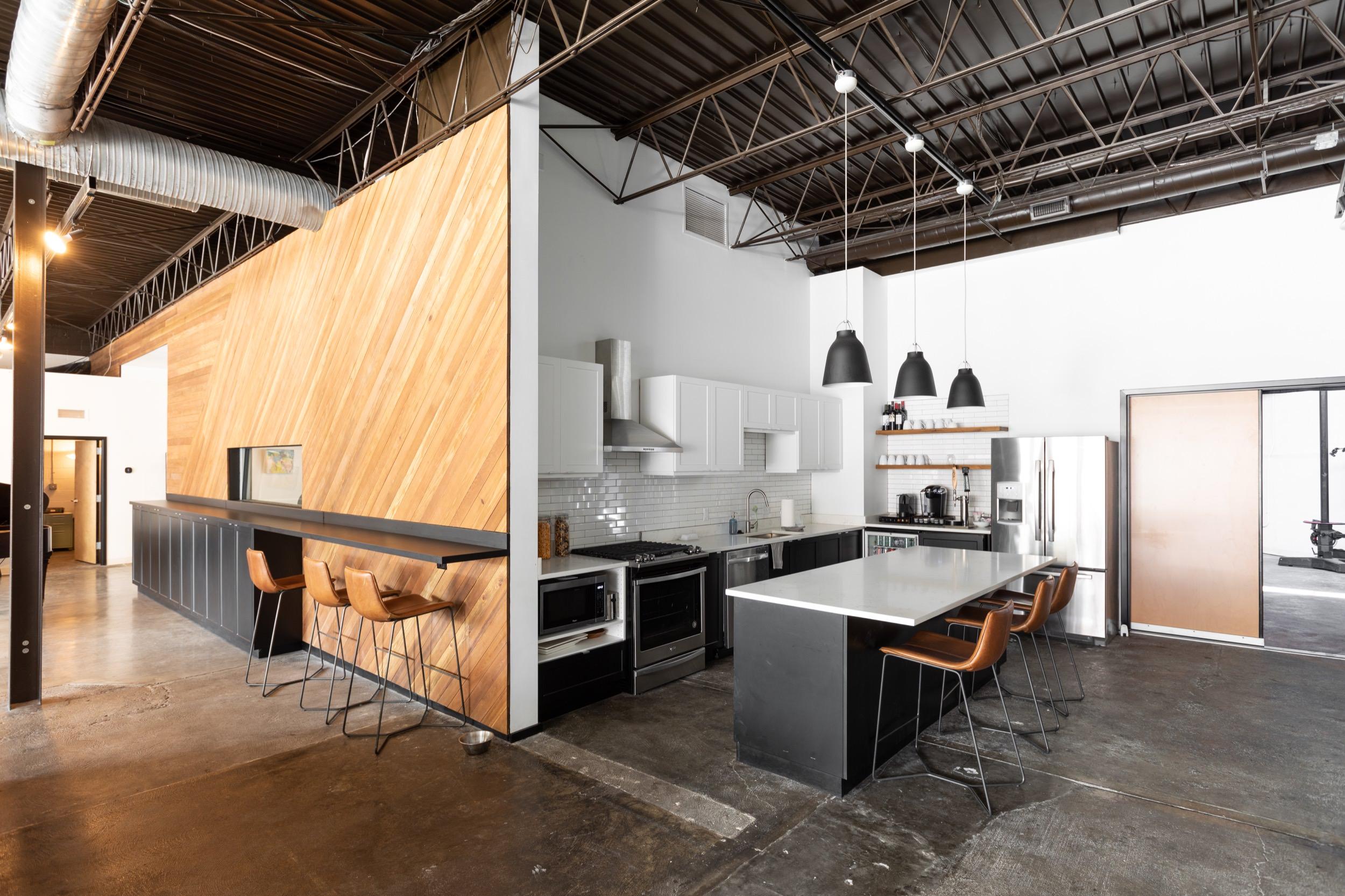Kitchen and bar seating at BicMedia