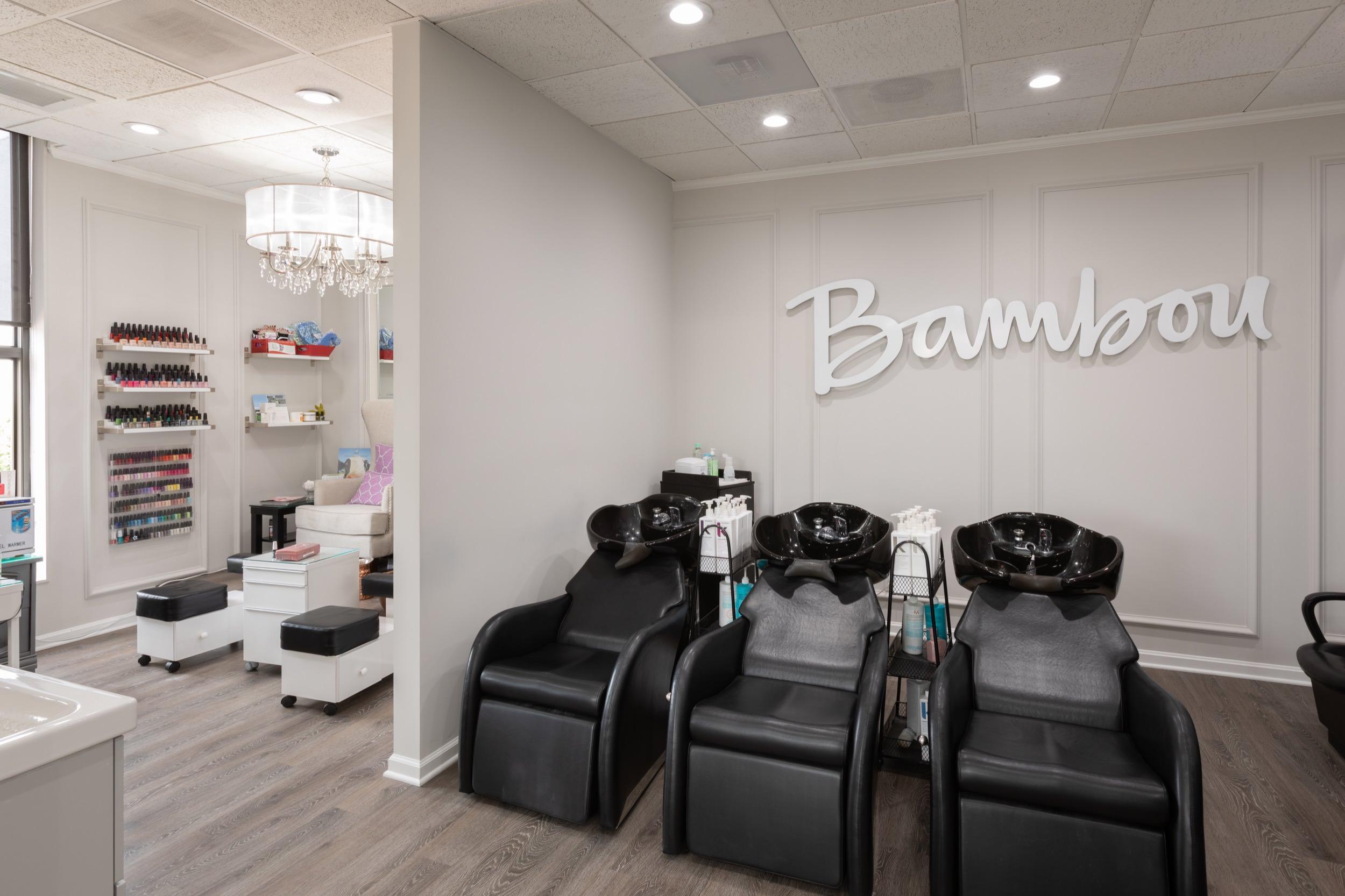 Hair-washing and nail stations at Bambou Salon