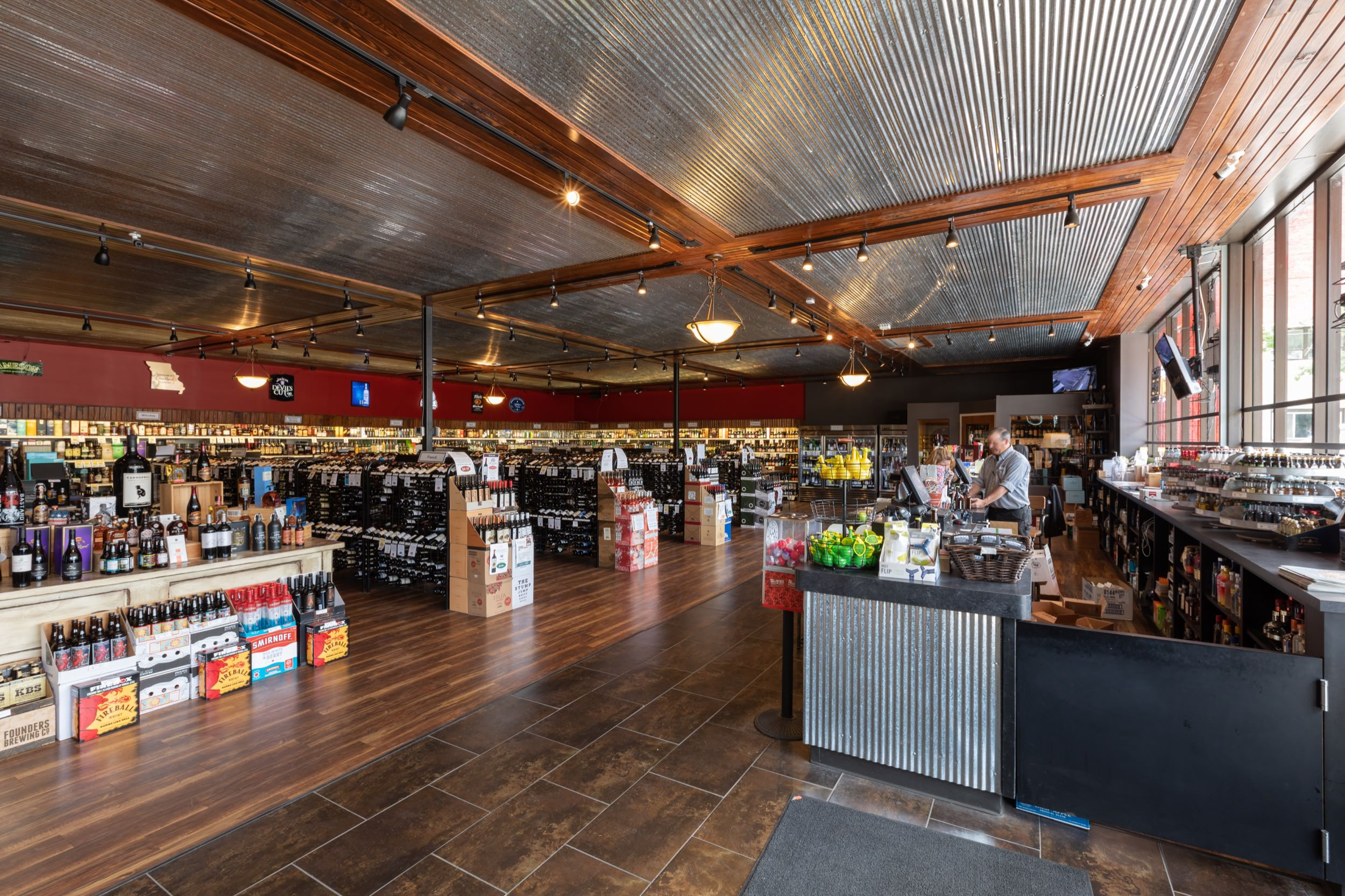 Retail space and checkout counter at Plaza Liquors