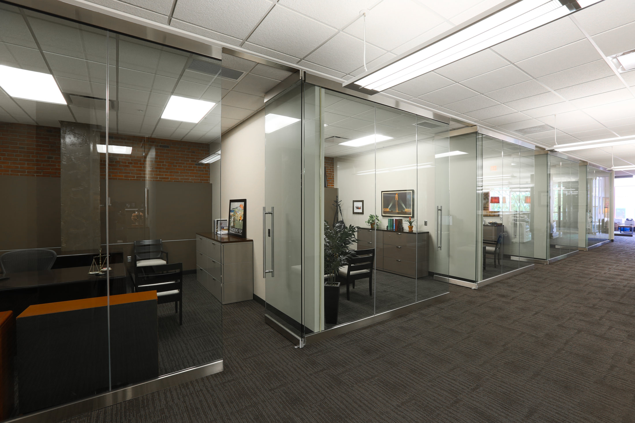 Stueve Siegel Hanson's newly-remodeled Country Club Plaza location features glass-walled offices.