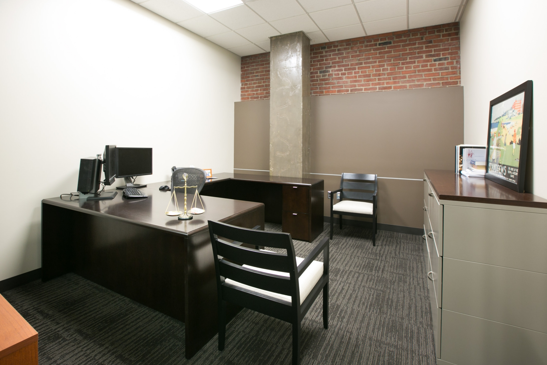 A comfortable office in Stueve Siegel Hanson's newly-remodeled Country Club Plaza location