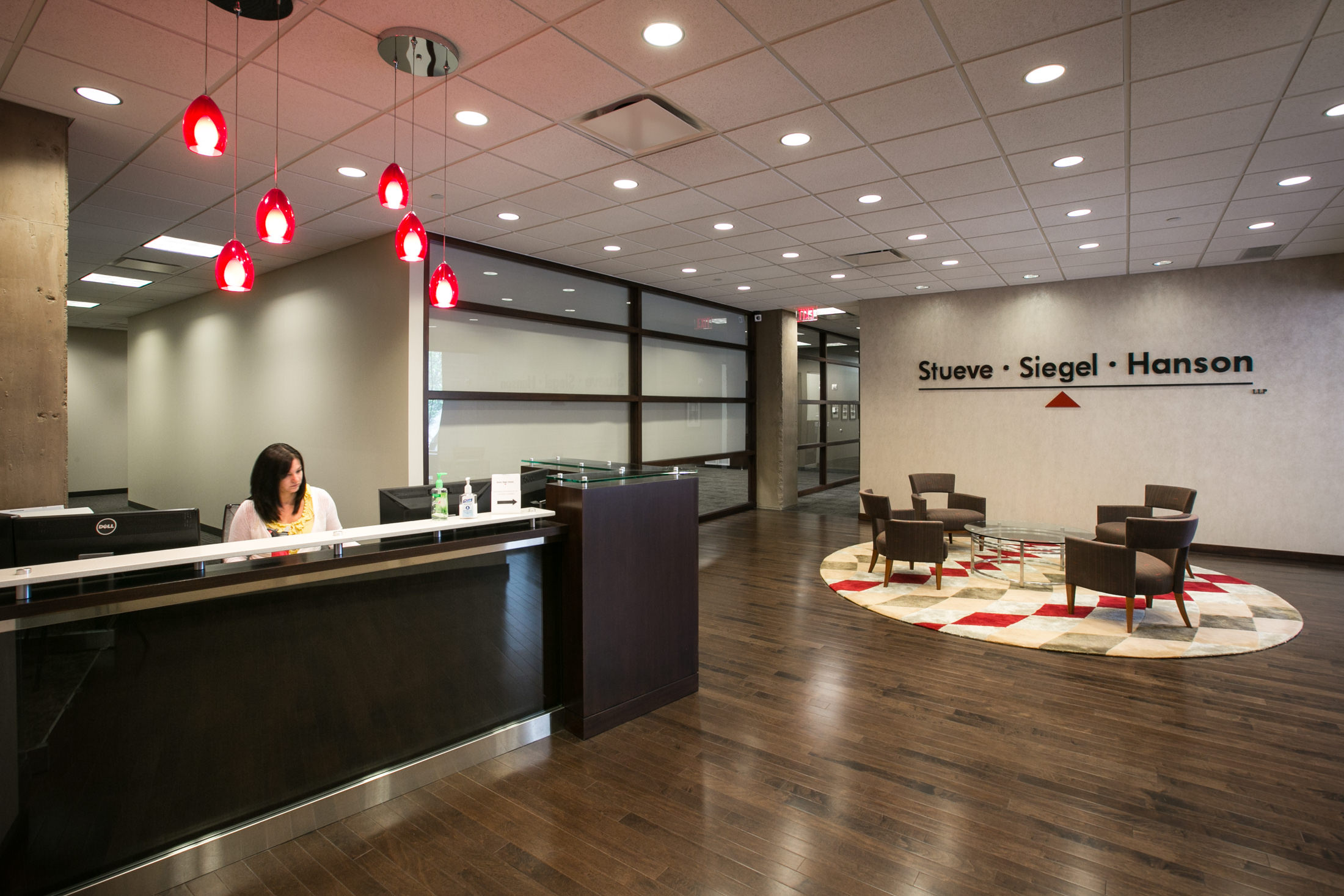 Stueve Siegel Hanson's remodeled lobby at their Country Club Plaza office.