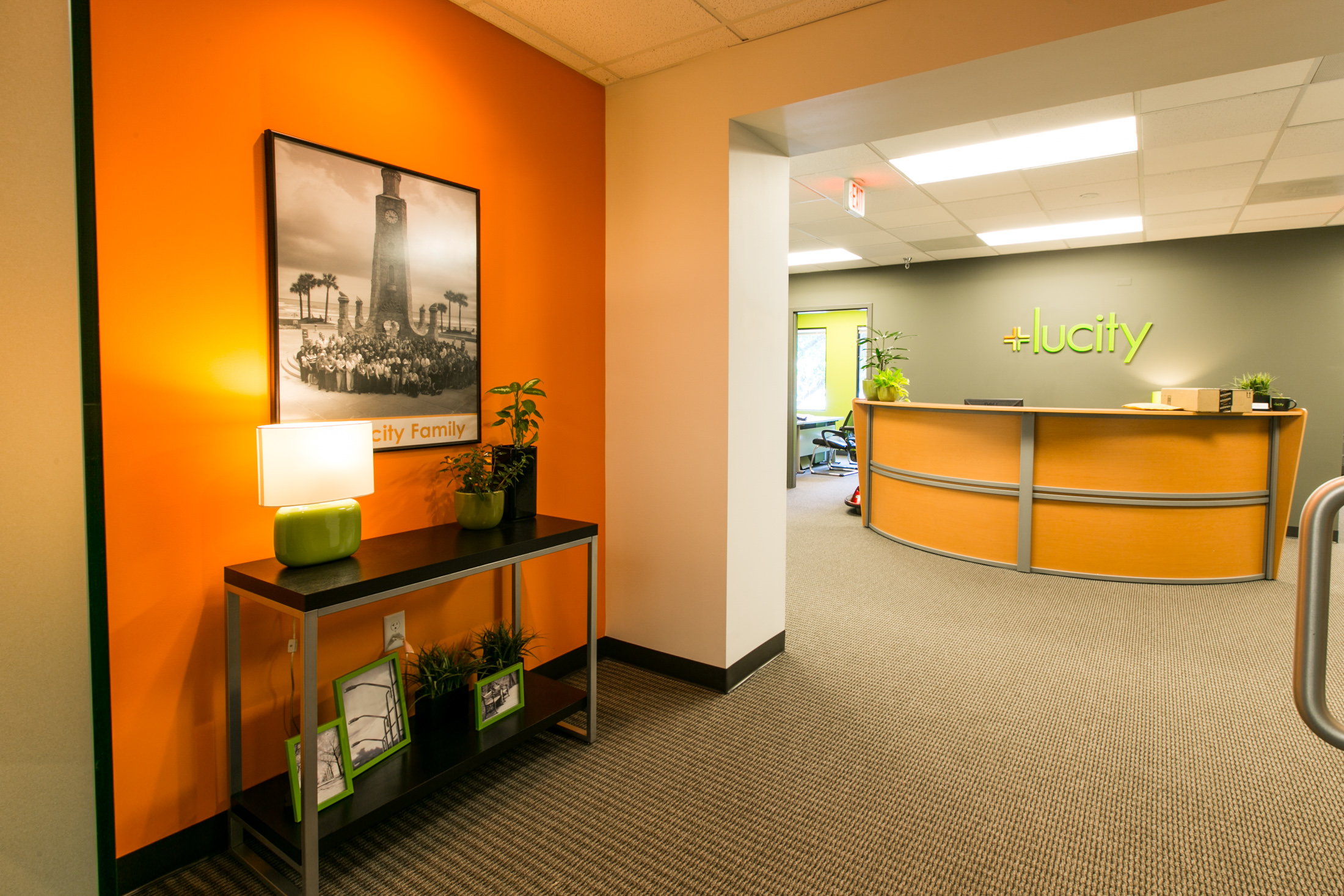 The Lucity waiting area features bright colors