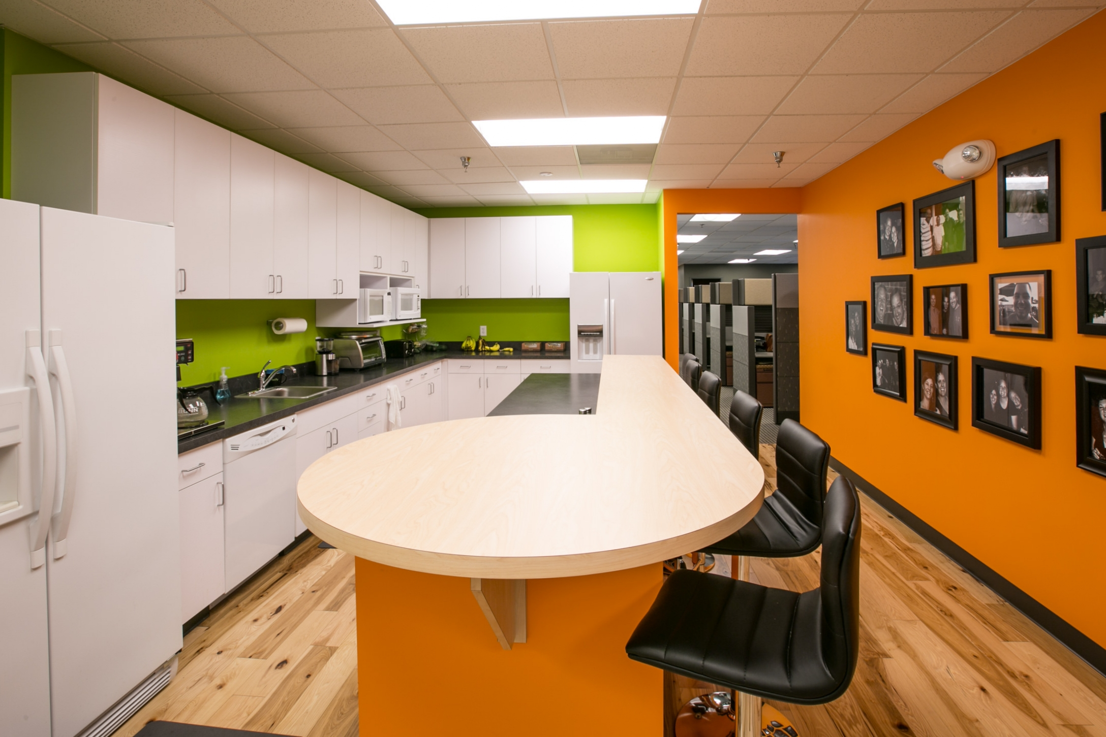Lucity's new break room in their remodeled office space