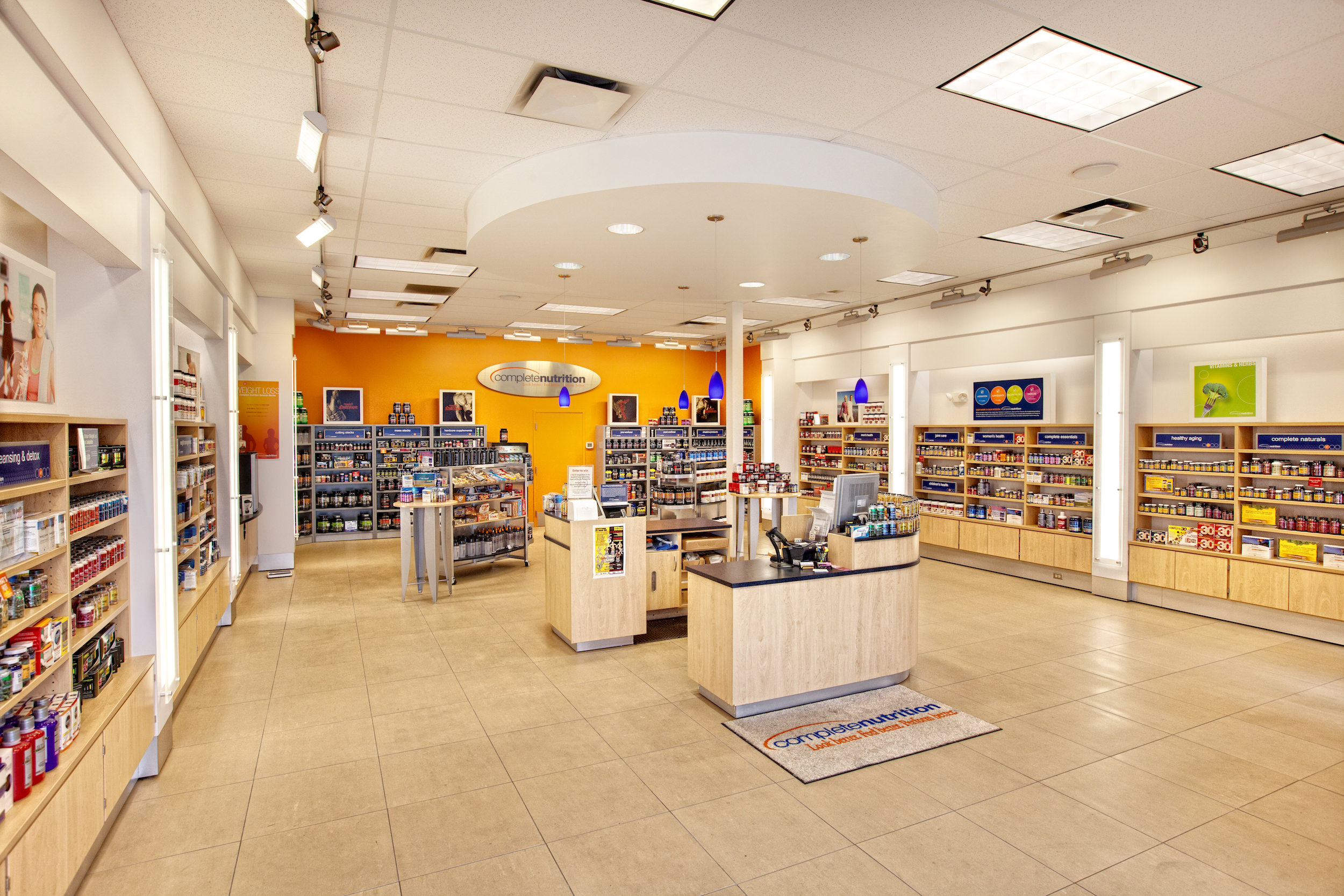 A view of the interior of Complete Nutrition's retail store