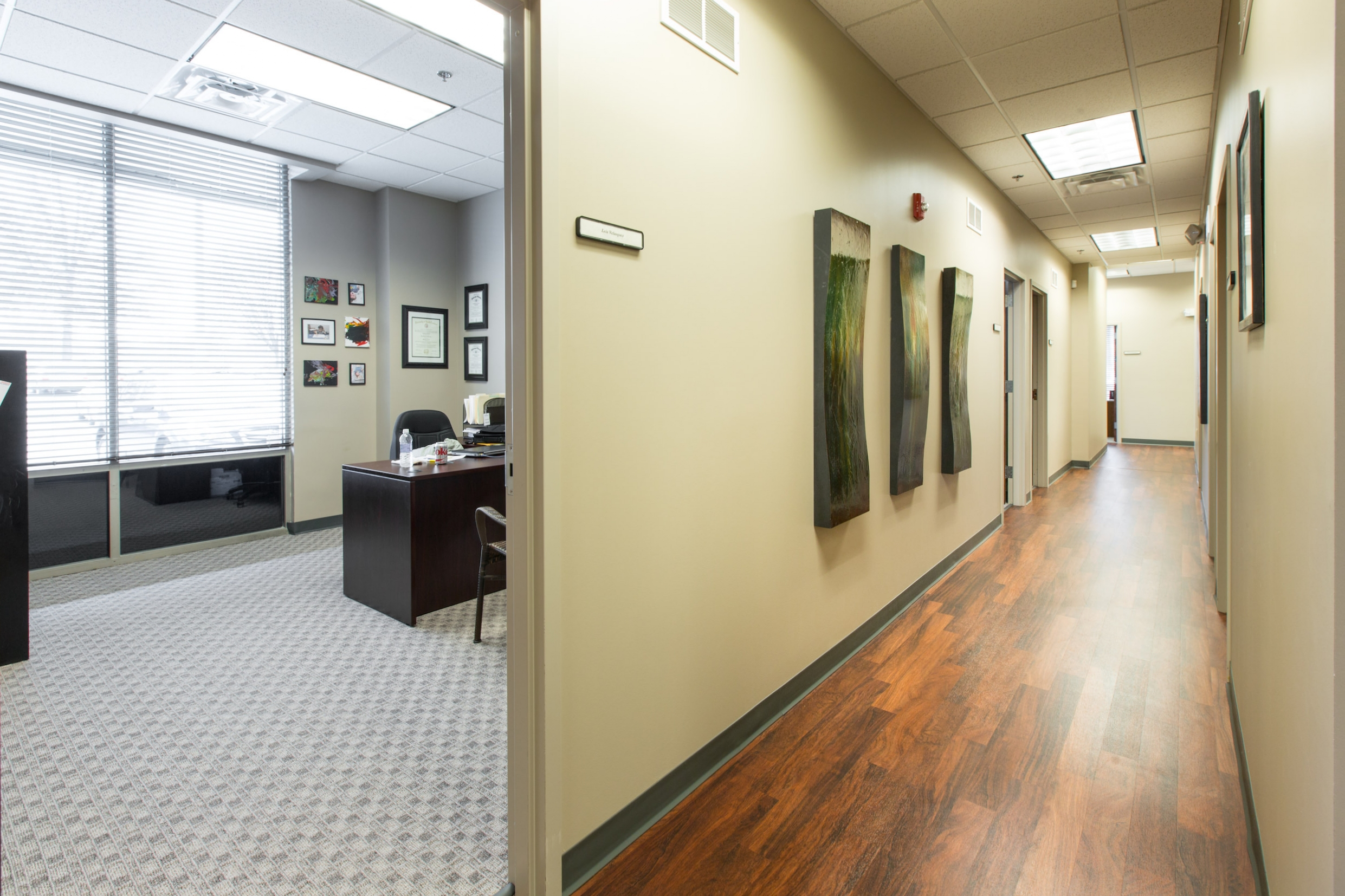 Office space and hallway in the ReDiscover office