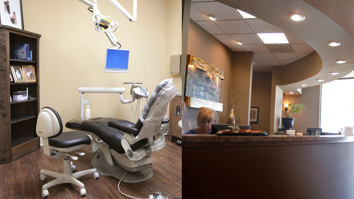 A dental exam chair and the reception front desk at Lakewood Dental