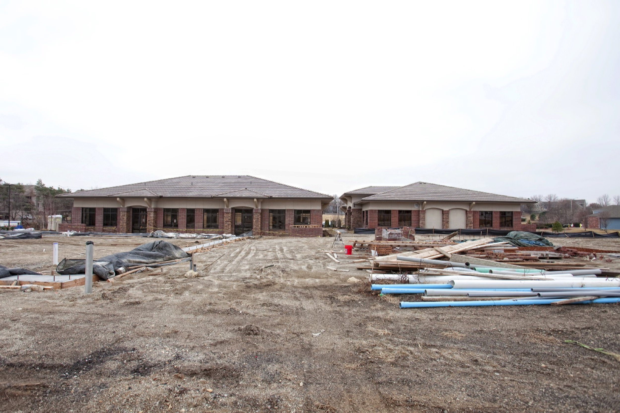 West College office park exterior view during construction