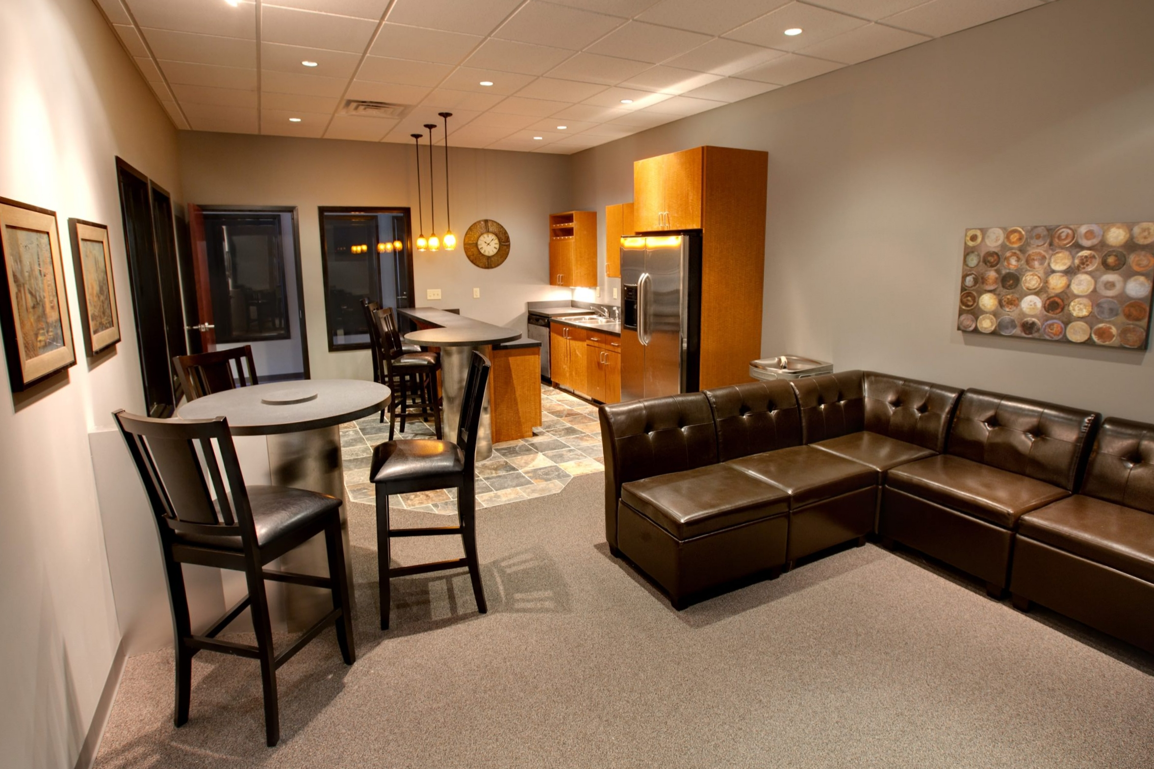 Lounge and kitchen area in office at West College office park