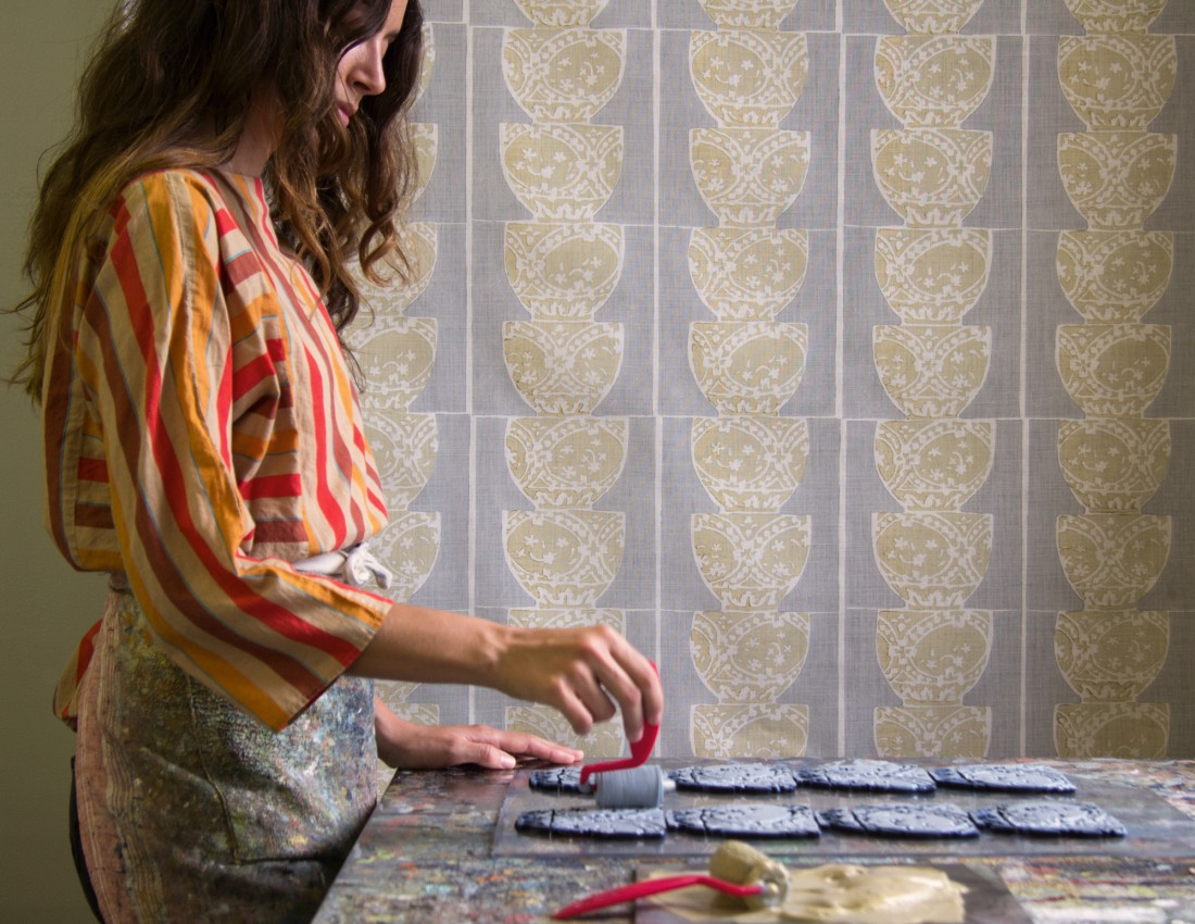 Galbraith & Paul    For six years, Ash, along with a team of talented artisans,produced hand-block printed yardage on upholstery grade linens for textile designer Liz Galbraith, of Galbraith & Paul.