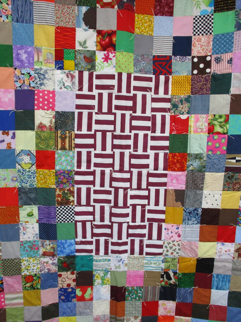 14, SCRAPPY PATCHES COMFORTER, 56x78, Donated by Cumberland Valley Relief Center