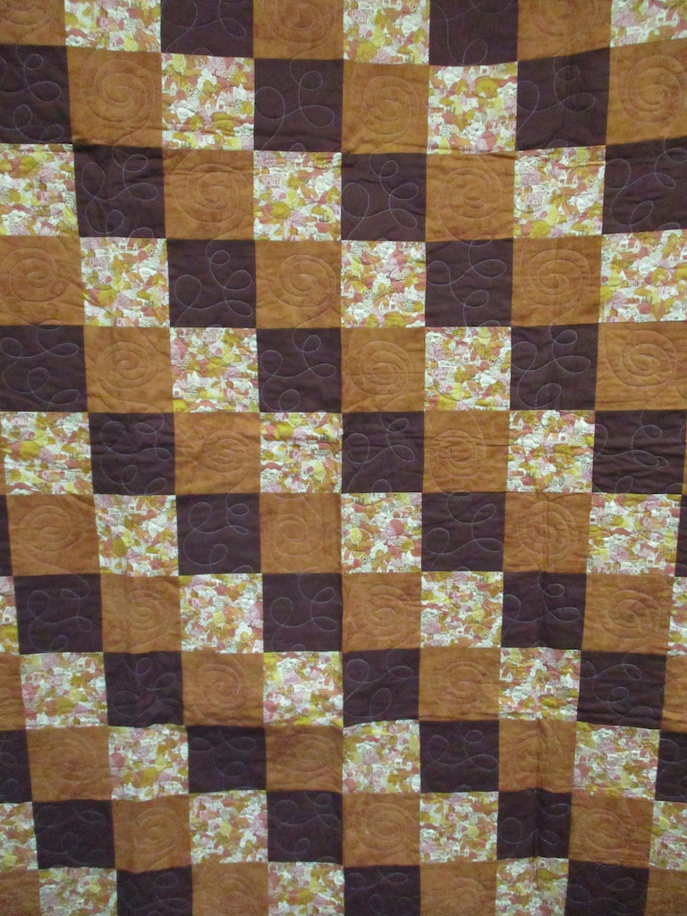 16, CABIN IN THE WOODS (machine quilted), 59x75, Pieced by Mildred Groff, Donated by Cumberland Valley Relief Center