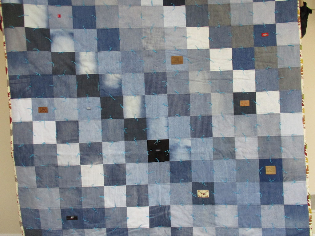 31, JEANS COMFORTER WITH LEAF BINDING, 74x83, Pieced and Donated by Charlotte Jacobs