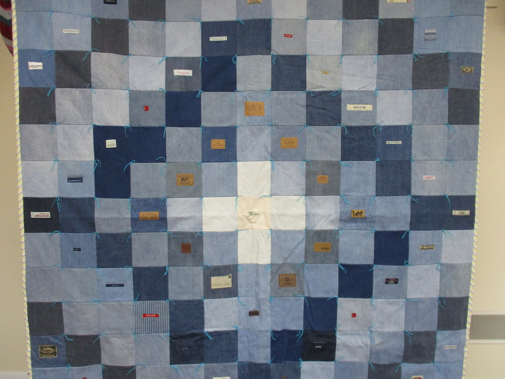 32, JEANS COMFORTER, 74x83, Pieced and Donated by Charlotte Jacobs