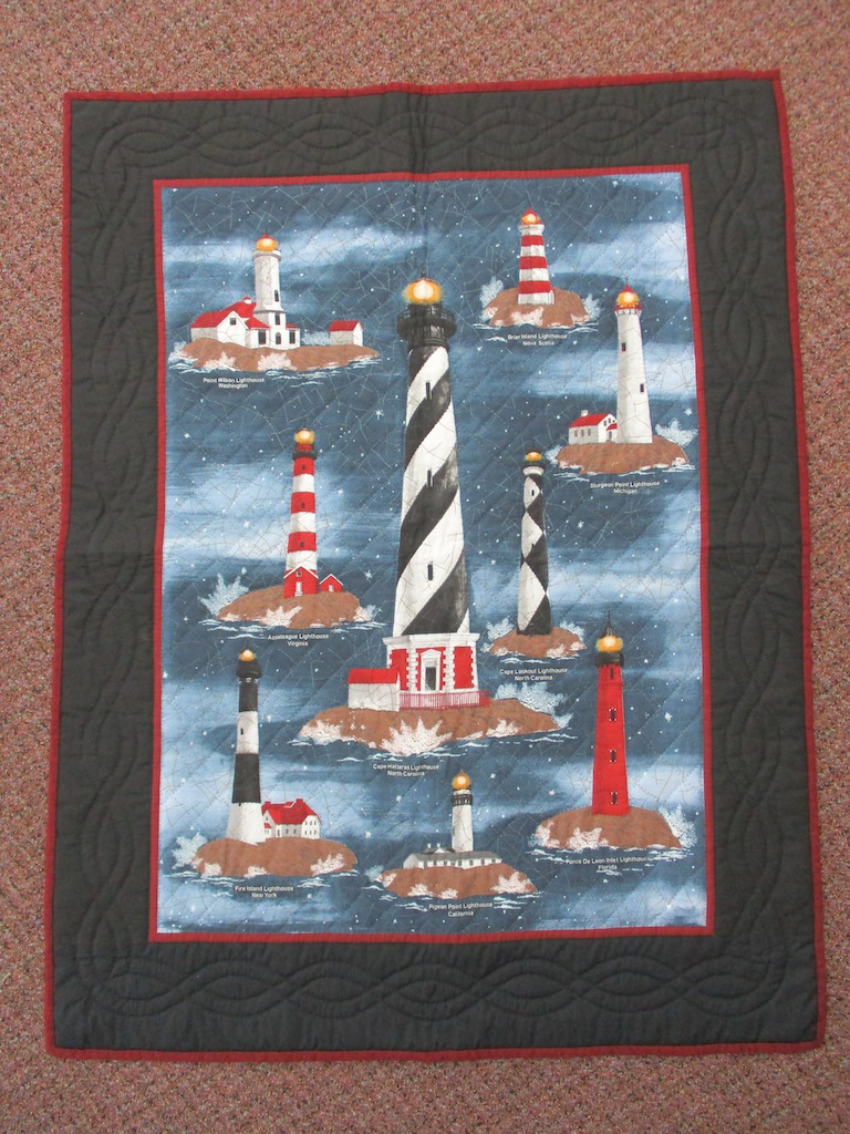 41, LIGHTHOUSE PREPRINT, 34x44, Quilted and Donated by Irene Shenk