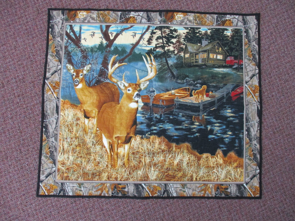 42, DEER COUPLE PREPRINT, 35x40, Quilted and Donated by Stumptown Mennonite Sewing Circle