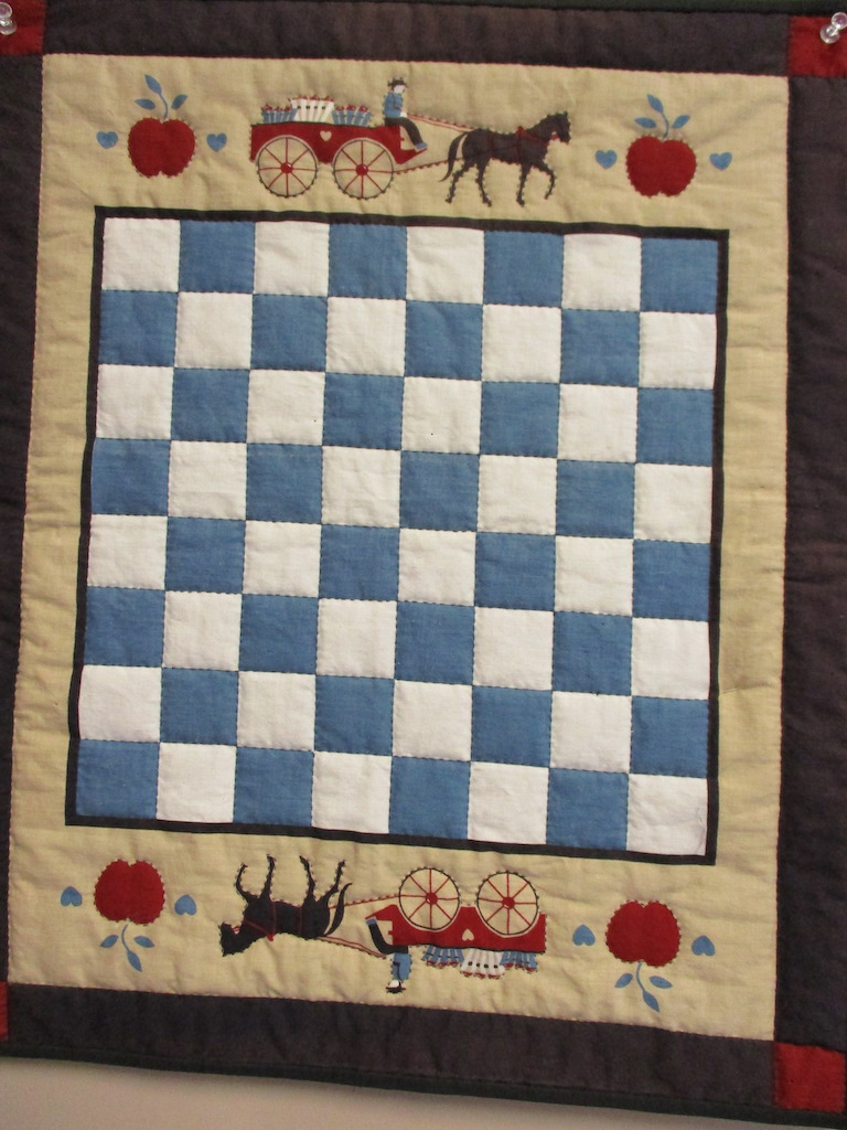 46, CHECKERBOARD PREPRINT (signed and dated), 17x20, Quilted by Juanita Fix