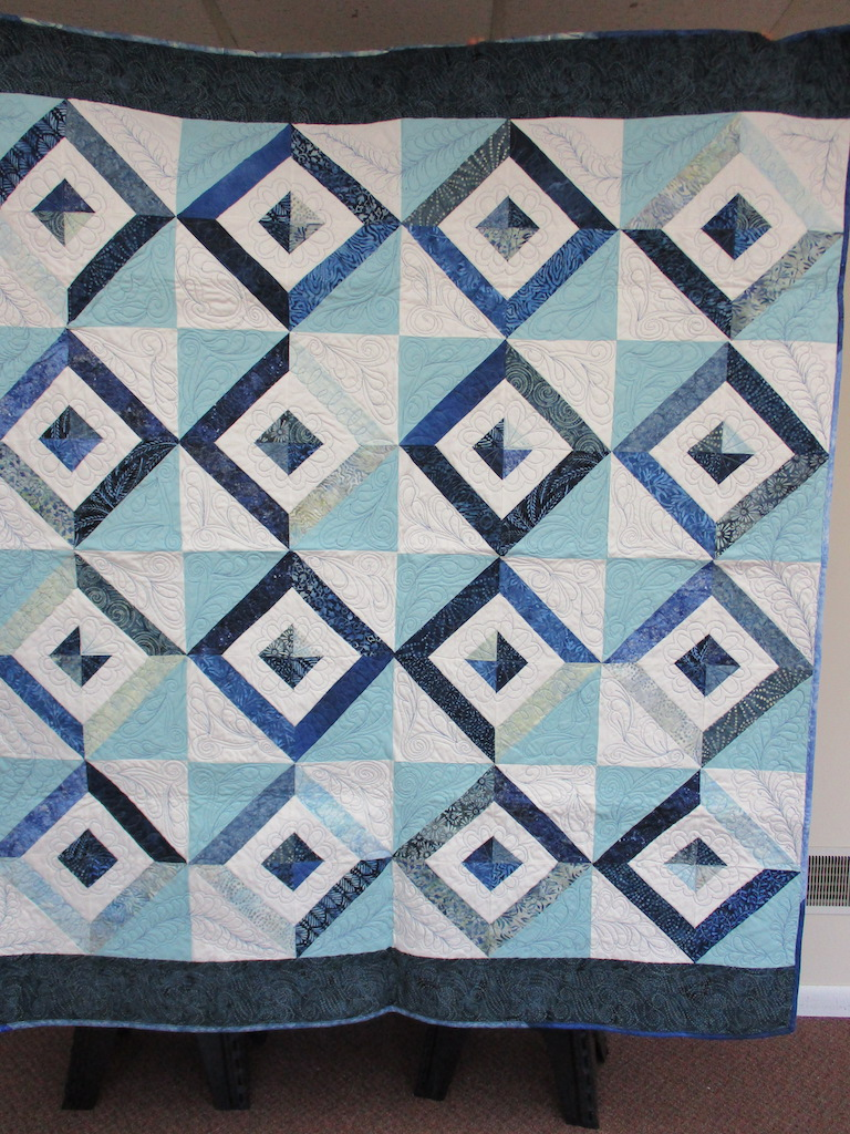 44, SIDEWALK CHALK (machine quilted), 62x72, Pieced, Donated and Quilted by Linda Matthews