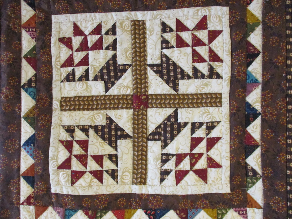 69, BOUNTIFUL (signed and dated), 19x19, Pieced by Dorothy Crider, Quilted by Fannie Frey