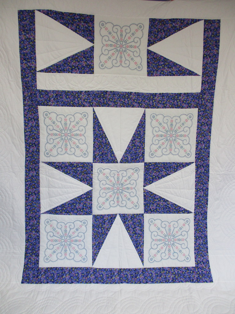 71, STAR CELEBRATION (QUILTING LINES ARE BLURRED), 94x106, Pieced and Donated by A friend of MCC, Quilted by MCC volunteers